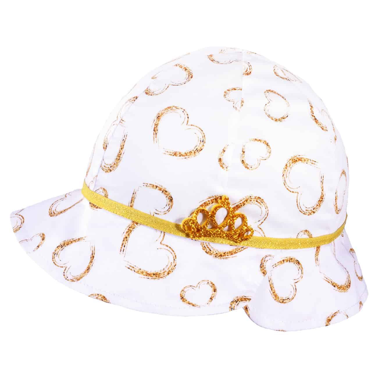 TUTU Kindermütze - Sommermütze  mit Herzen und Krone in Gold
