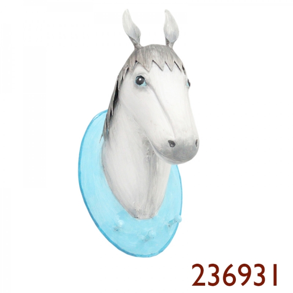 Pape Trophäe Wandhaken Pferd  Lipizzaner weiss - Platte hellblau