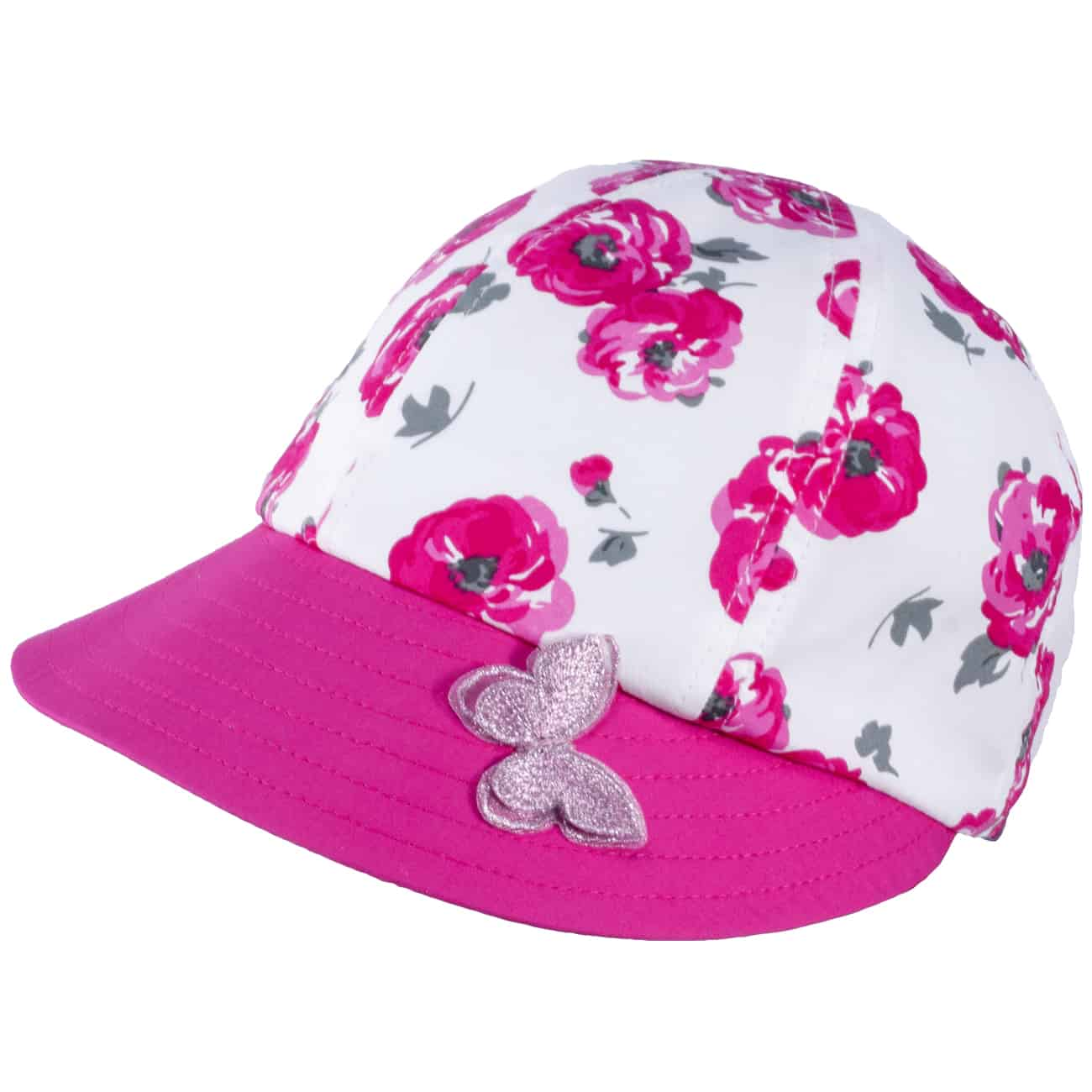 TUTU Kindermütze - Sommermütze - Kappe mit Blumenmuster und Schmetterling Applikation