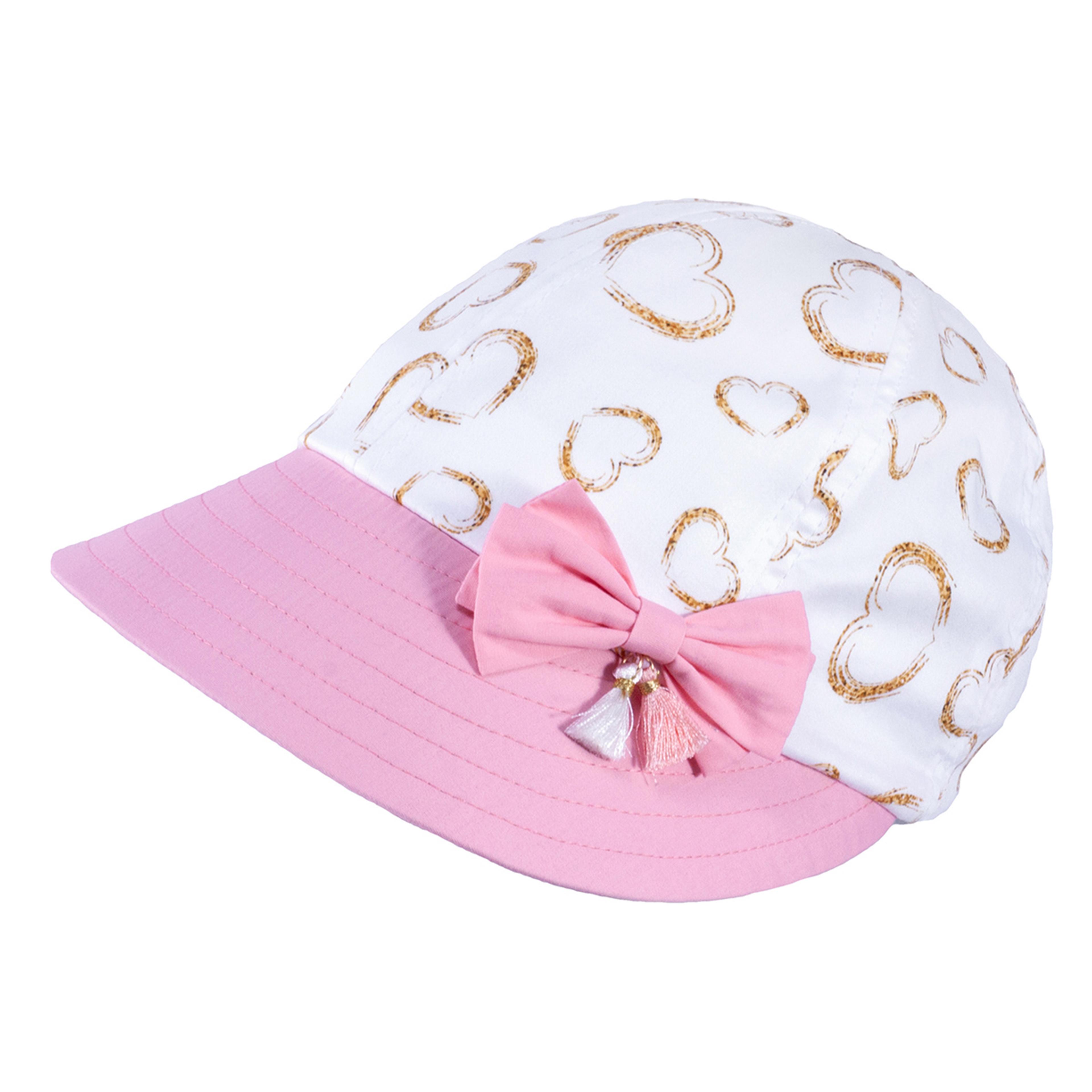 TUTU Kindermütze - Sommermütze Kappe  mit Herzen und Schleife in Rosa