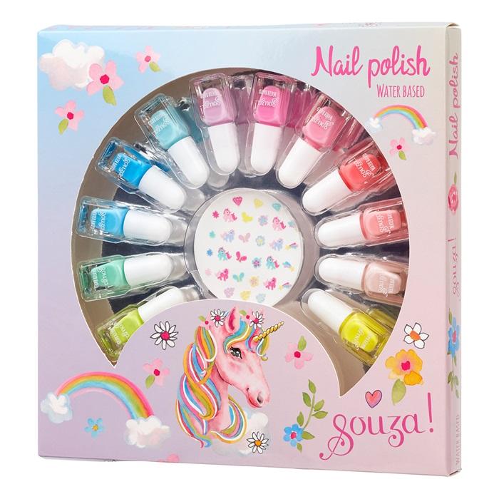 Souza for Kids Nagellack Set auf Wasserbasis für Kinder incl. Nagelsticker  ( Set mit 12 Farben)